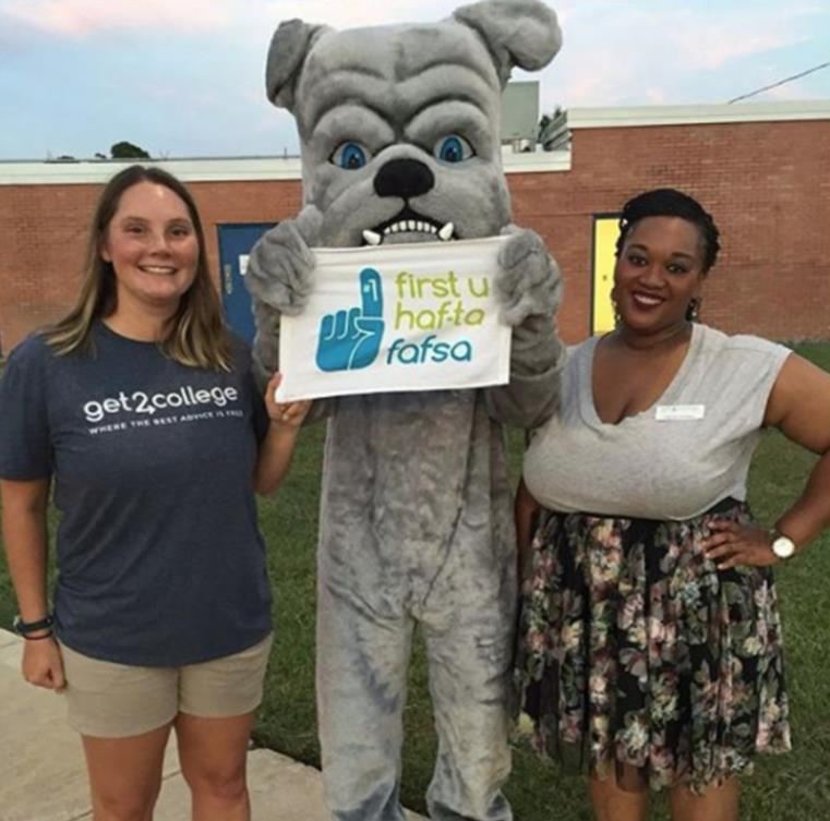 Get2College staff with mascot at FAFSA event.