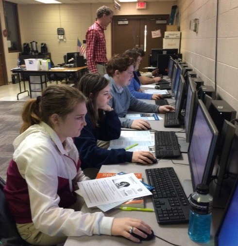 Students completing the FAFSA form at Springfield High School in Springfield, Louisiana